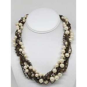 J. Crew Twisted Pearl Chain Rhinestone Necklace
